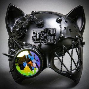 Steampunk Monocular Gatto Cat Venetian Mask Black